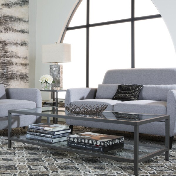 Studio Designs Home Camber Metal/Glass Rectangle Coffee Table