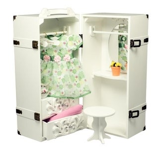 "The Queen's Treasures Deluxe Doll Storage Trunk Armoire & Vanity Fits 18"" Girl Doll Furniture & Accessories"