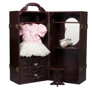 The Queen's Treasures Deluxe Doll Storage Trunk Armoire and Vanity Fits 18-inch Girl Doll Furniture and Accessories