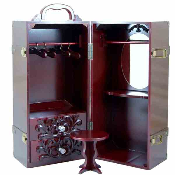 """The Queen's Treasures Deluxe Doll Storage Trunk Armoire & Vanity Fits 18"""" Girl Doll Furniture & Accessories"""