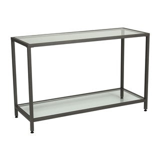 Offex Home Entryway Camber Pewter Console Table with Clear Tempered Glass