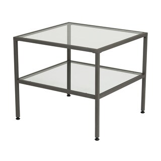 Offex Camber One Shelf Pewter End Table with Clear Tempered Glass