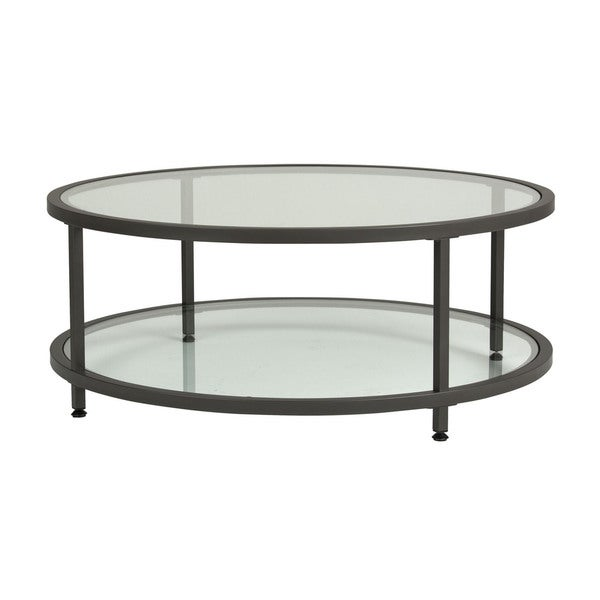 Shop Offex Camber Round Pewter Coffee Table With Clear