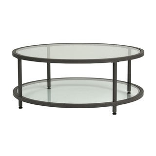 Offex Camber Round Pewter Coffee Table with Clear Tempered Glass