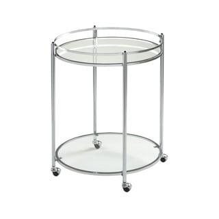Offex Home Restaurant Veranda Round Clear Glass Chrome Cart