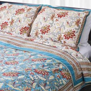 Dreams in India Teal and Red Floral King-sized Cotton Coverlet Set (India)