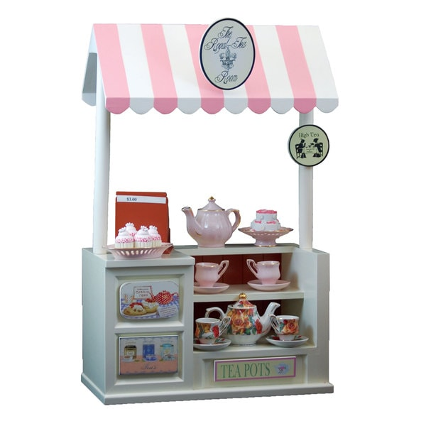 The Queen's Treasures Interchangeable Royal Tea Room Shoppe with Counter, Register & Tea Shop Signs,