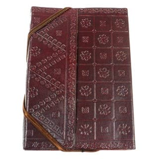 Handmade Bound in Leather Journal (India)|https://ak1.ostkcdn.com/images/products/11641770/P18574461.jpg?impolicy=medium