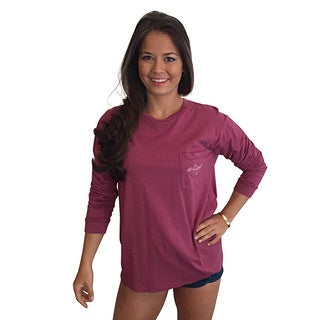 Monograms are Happiness Women's Rasberry Long Sleeve Pocket T-Shirt
