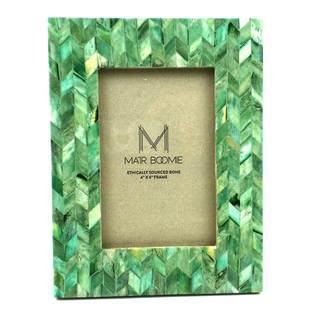 Chevron Bone and Wood Frame for 4x6 Photo in Emerald (India)