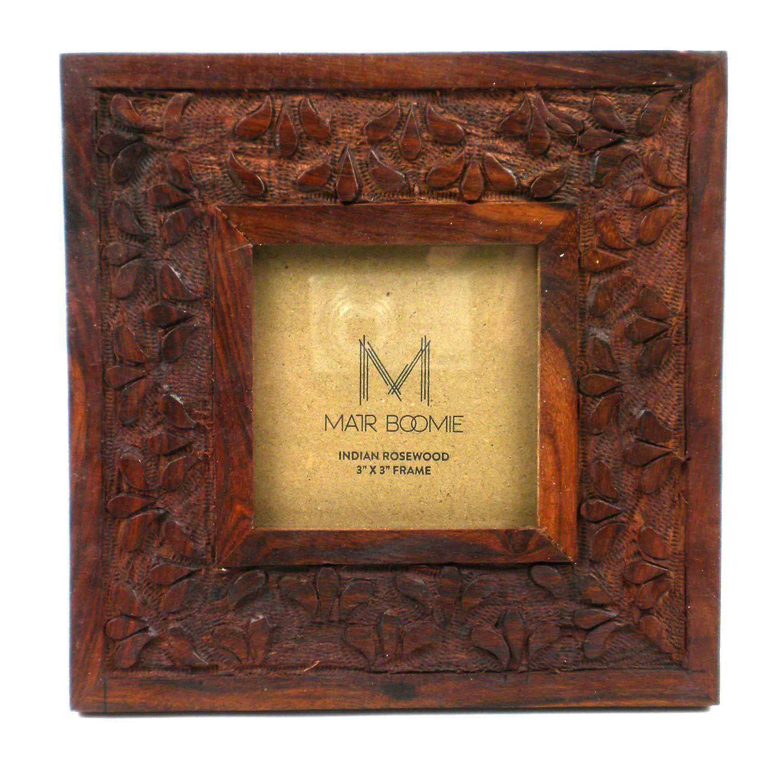 Global Crafts Handmade Square Botanical Rosewood Frame fo...