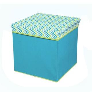 Cyan Blue/ Green Collapsible Storage Ottoman