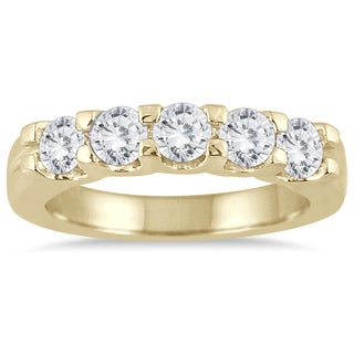 Marquee Jewels 14k Yellow Gold 1ct TDW Diamond 5 Stone Band