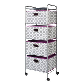 Heather Grey/ White/ Purple 4-Drawer Rolling Storage Cart