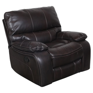 Porter Alameda Brown Vegan Leather-like Recliner with Elegant Black Contrast Welt