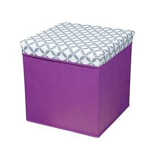 Grey/ White/ Purple Collapsible Storage Ottoman