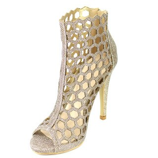 Beston FB59 Women's Glitter Caged Stiletto Party Dress Pumps