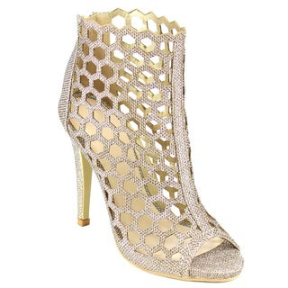 Beston FB59 Women's Glitter Caged Stiletto Party Dress Pumps