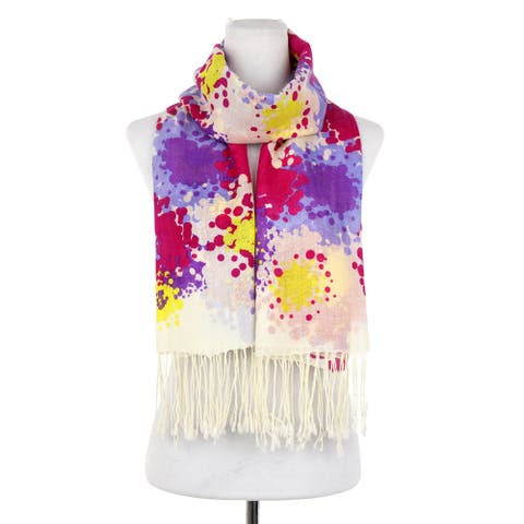 Dasein Flower Print Multi Color Free-End Wool Scarf