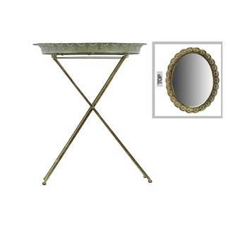 Metal Table with Mirror Surface Pierced Metal Electroplated Finish Gold