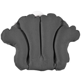 Terry Bath Pillow - Spa-Quality Terry Cloth - Easily Inflatable with Secure Suction Cups - Hot Tub and Jacuzzi-Safe - Grey