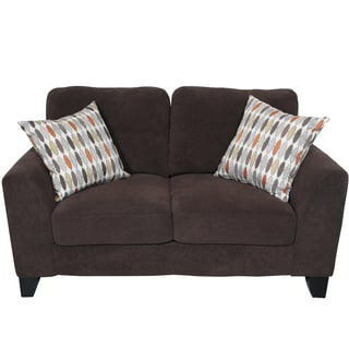 Porter Brighton Chocolate Textured Microfiber Loveseat with Woven Accent Pillows