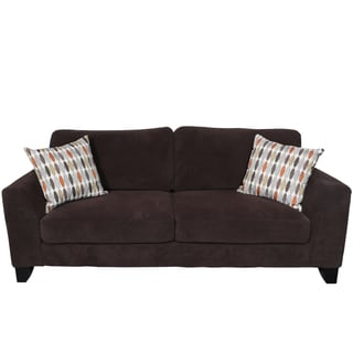 Porter Brighton Chocolate Textured Microfiber Sofa with Woven Accent Pillows