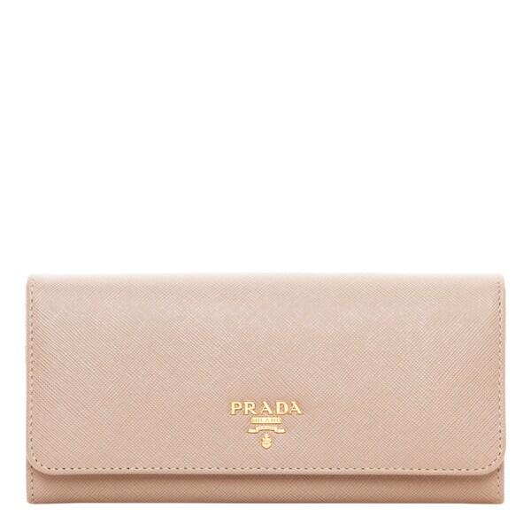 aaa673daa35b61 Shop Prada Saffiano Metallic Gold Leather Flap Wallet - Free ...