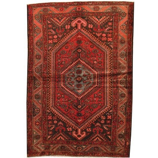 Herat Oriental Persian Hand-knotted Hamadan Red/ Gray Wool Rug (4'3 x 6'8)
