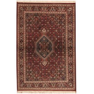 Herat Oriental Indo Hand-knotted Bidjar Red/ Navy Wool Rug (4' x 6')