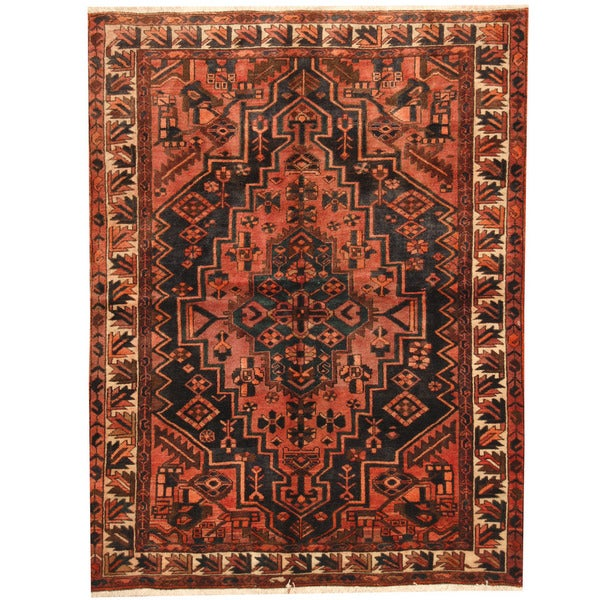 Hand Knotted Persian Hamadan Wool Area Rug Ebth: Herat Oriental Persian Hand-knotted Hamadan Salmon/ Ivory