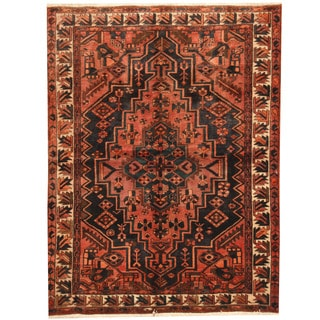 Herat Oriental Persian Hand-knotted Hamadan Salmon/ Ivory Wool Rug (5'2 x 6'9)