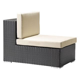 Cartagena Espresso Sunproof Wicker and Fabric Middle Chair