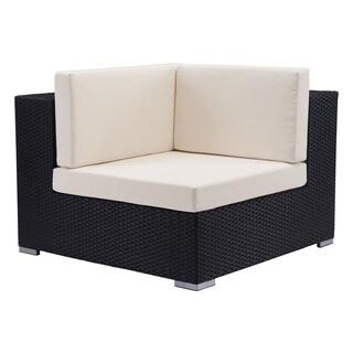 Cartagena Espresso Sunproof Wicker and Fabric Corner Chair