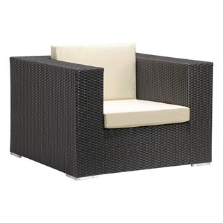 Cartagena Espresso Sunproof Wicker and Fabric Arm Chair