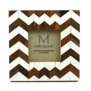Handmade Square Rudra Bone and Wood Frame for 3x3 Photo (India)