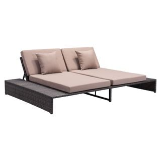 Delray Brown Sunproof Wicker and Fabric Reclining Loveseat