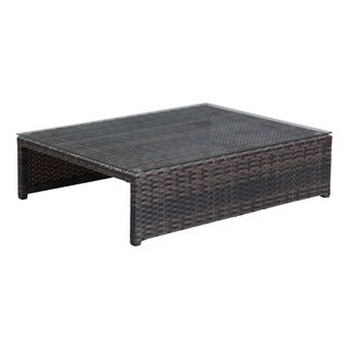 Delray Brown Tempered Glass and Wicker Coffee Table