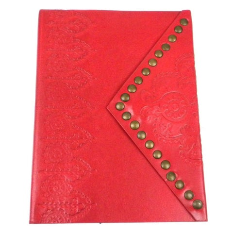 Handmade Nailhead Journal in Scarlet (India)