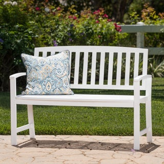 Loja Outdoor Acacia Wood Bench by Christopher Knight Home (Option: White)