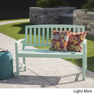 Loja Outdoor Acacia Wood Bench by Christopher Knight Home (Option: Light Mint)