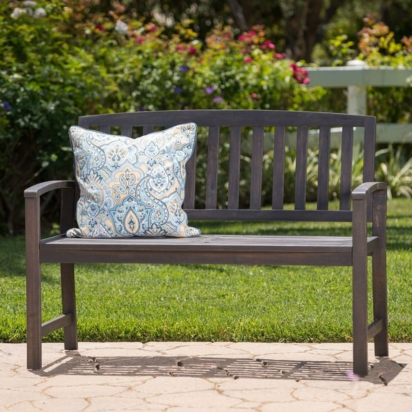 Loja Outdoor Acacia Wood Bench by Christopher Knight Home. Opens flyout.