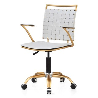 M356 Adjustable Height Office Chair in Gold and White