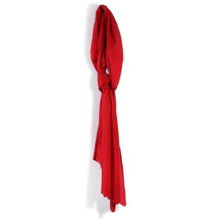 Davidoff Red Pashmina Scarf with Diamond Weave Ends