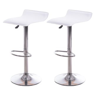 NOHO Backless Bar Stools in White (Set of 2)