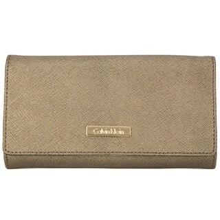 Calvin Klein Saffiano Antique Bronze Metallic Large Billfold Wallet