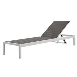 Grey and White Outdoor Chaise Lounge