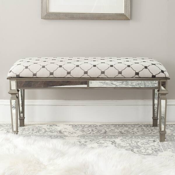 Cool Shop Safavieh Layla Moroccan Grey Beige Upholstered Bench Camellatalisay Diy Chair Ideas Camellatalisaycom