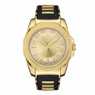 JBW Men's Black Silicone Goldplated Stainless Steel Diamond Regal J6332A Watch