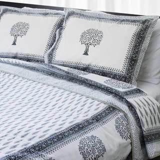 Dreams in India Hand-block Grey Tree King-sized Cotton Coverlet Set